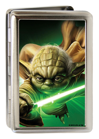 Flying Yoda holding green lightsaber, Star Wars business card holder gift merchandise