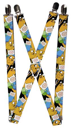 Adventure Time - Jake & Finn Poses Stacked Suspenders Novelty