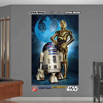 Star Wars R2D2 and C3PO posing in front of Rebel Alliance blue insignia blue Fathead mural decal sticker