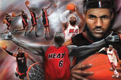 LeBron James Collage Miami Heat NBA Sports Poster Poster