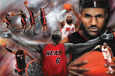 LeBron James Miami Heat NBA basketball sports collage poster artwork