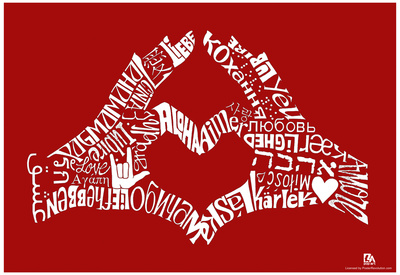 Love Languages Finger Heart Text Poster Poster