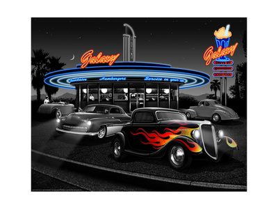 Galaxy Diner - Black and White Posters by Helen Flint