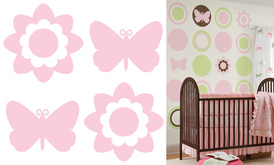 Gigi Pink Butterfly and Flowers Silhouettes Wall Decal Sticker Wall Decal
