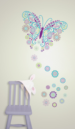 Social Butterfly Wall Art Decal Kit Wall Decal