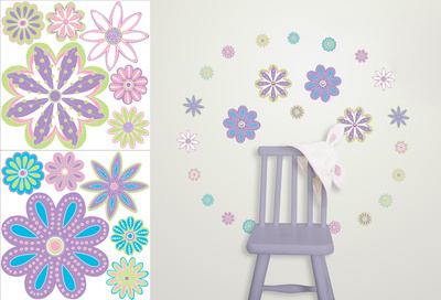Patchwork Daisy Blox Wall Decal Sticker Wall Decal