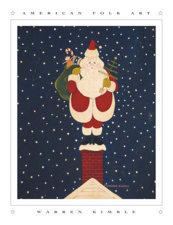 Chimney Santa Posters by Warren Kimble