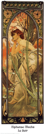 Tarde Láminas por Alphonse Mucha