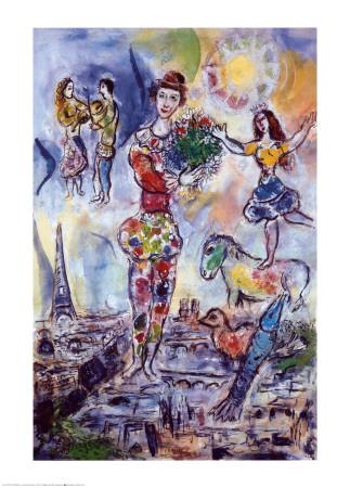 パリの屋根の上 ポスター : マルク・シャガール