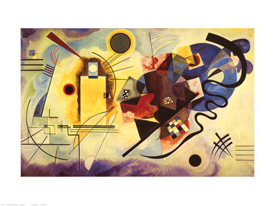 Yellow, red, and blue abstract artwork by Wassily Kandinsky