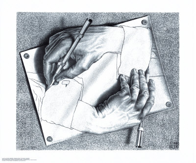 Drawing Hands Art Print