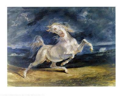 Frightened Horse Prints by Eugene Delacroix