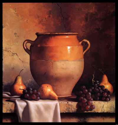 Confit Jar with Pears and Grapes Art Print