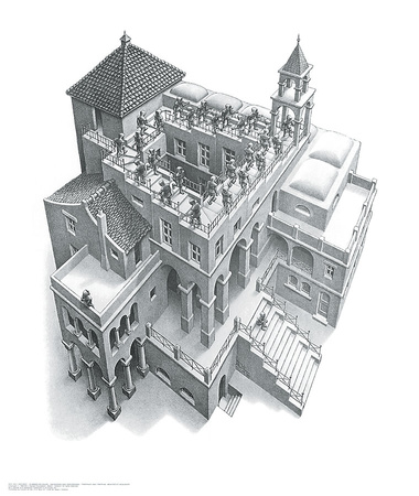 Ascending and Descending Poster by M. C. Escher