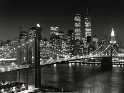 New York, New York, Brooklyn-broen Kunsttryk