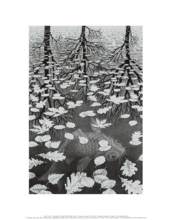 Three Worlds Posters by M. C. Escher