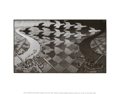 Day and Night Prints by M. C. Escher