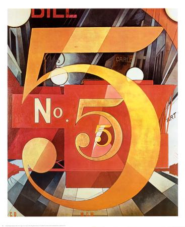 La figura 5 en dorado, 1928 Láminas por Charles Demuth