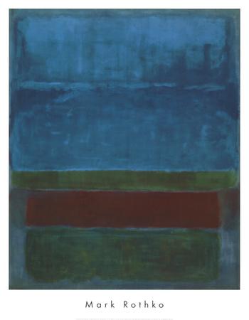 Blauw, groen en bruin Posters van Mark Rothko