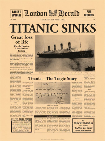 Titanic Sinks Art Print