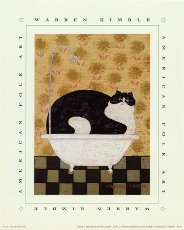 Cat in Hot Tin Tub Reproduction d'art