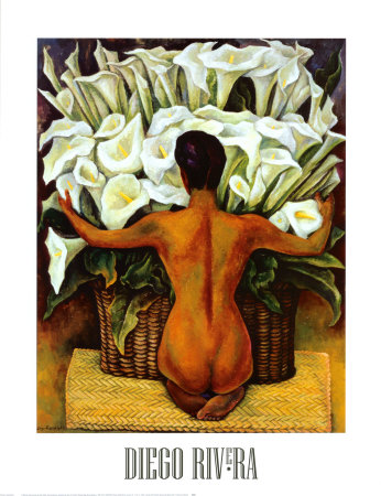 Nude with Calla Lilies Posters by Diego Rivera