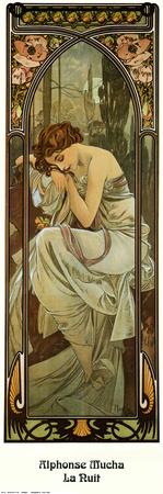Noche Láminas por Alphonse Mucha