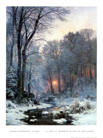 Twilit Wooded River in the Snow Art Print