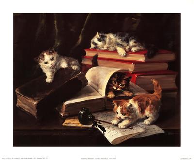 Playful Kittens Art by Alfred Brunel De Neuville