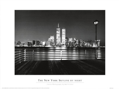 black and white new york skyline pictures. New York Skyline at Night Art