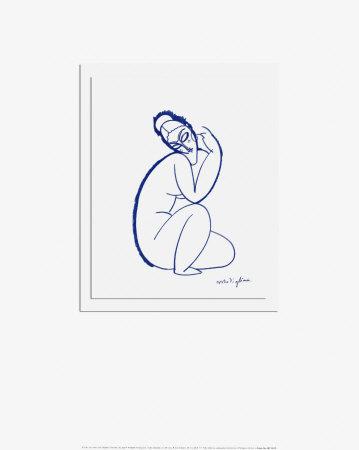 Nudo seduto sulla gamba sinistra Stampe di Amedeo Modigliani