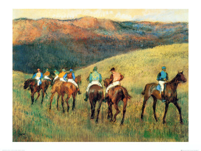 Racehorses in a Landscape Print by Edgar Degas
