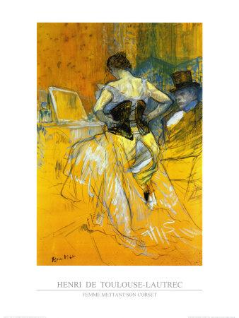 Femme Mettant Son Corset Arte por Henri de Toulouse-Lautrec