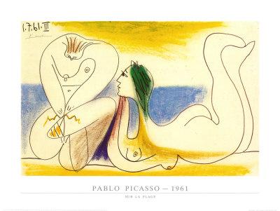 Sur la Plage, 1961 Print van Pablo Picasso