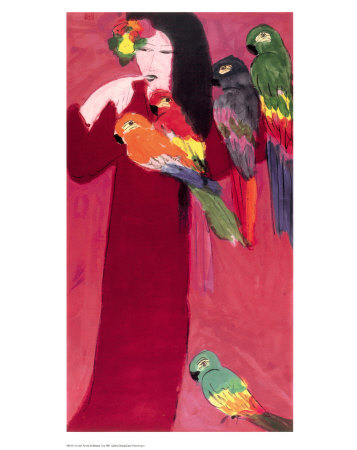Girl with Parrots Konsttryck