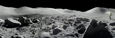 An Apollo 17 Composite Photograph at Station 5 Shows a Stretch of Rock-strewn Moon Features Photographic Print