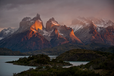 Dawn Over Mountains and Lago Pehoe in Torres Del Paine National Park Photographic Print by Beth Wald