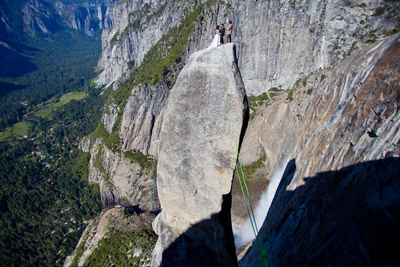 An Extreme Wedding on Top of Lost Arrow Spire Above Yosemite Village Photographic Print by Ben Horton