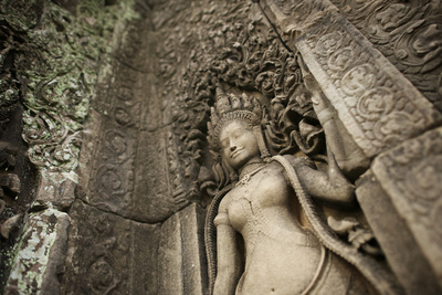 Lichens Grow on Ornate Stone Carvings and Bas Relief at Angkor Wat Photographic Print by Jim Ricardson