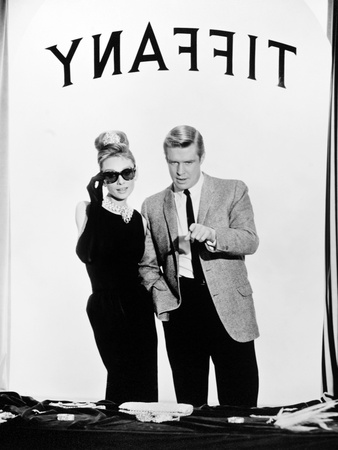 """Audrey Hepburn, George Peppard. """"Breakfast At Tiffany's"""" 1961, Directed by Blake Edwards Fotografisk tryk"""