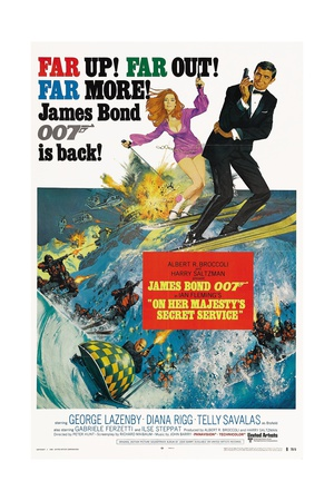 On her majesty secret service george lazenby james bond vintage movie film poster