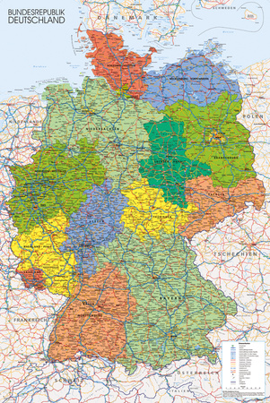 Germany Map Reference Poster Print