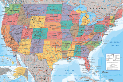 USA Map plakat
