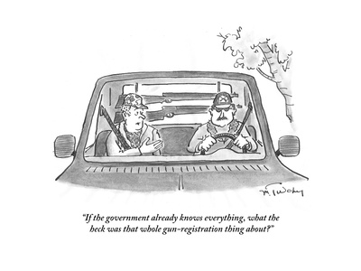 """If the government already knows everything, what the heck was that whole …"" - Cartoon Giclee Print by Mike Twohy"