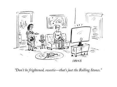 """""""Don't be frightened, sweetie—that's just the Rolling Stones."""" - Cartoon Giclee Print by David Sipress"""
