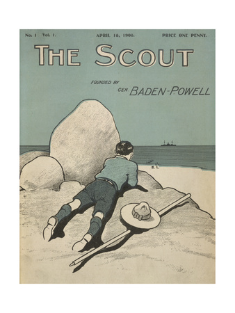 Colour Illustrated Cover Showing a Boy Scout Watching a Ship On the Horizon Giclée-tryk