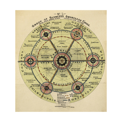 Diagram With the Title 'group Of Slumless Smokeless Cities'. Giclee Print by Ebenezer Howard