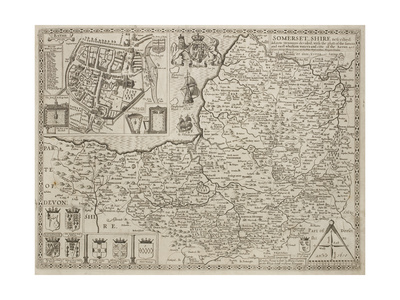 An Eighteenth-century Map Of Somersetshire Giclee Print by J. Speed