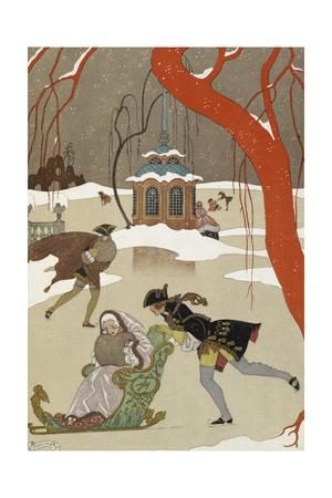 People Ice Skating Giclée-tryk af Georges Barbier