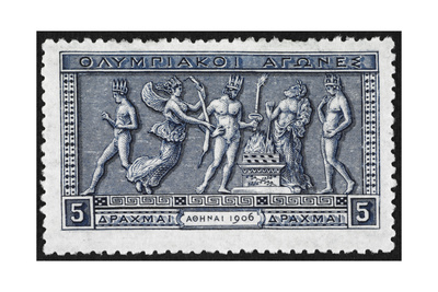 Olympic Offerings. Greece 1906 Olympic Games 5 Drachma, Unused Giclee Print